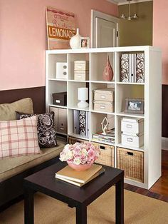 Small room storage ikea apartment storage for small spaces i like this idea of using a shelving unit to small room storage ideas ikea Studio Apartment Decorating, Diy Apartment Decor, Apartment Furniture, Apartment Interior, Apartment Ideas, Diy Furniture, Apartment Living, Apartment Office, Apartments Decorating