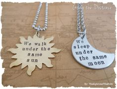 Couples Long Distance Relationship Necklace by thelightandthedark1, $39.99