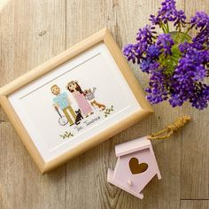 Such a 'floral' portrait, isn't it?For the first time we stitched a watering can and a banjo! I'm excited to share some close ups with you! Thank you @shelby_kaye3 for your order and for your review!It means so much for us.  'These portraits are just the best! So incredibly cute and all the details they put into the cross stitch is amazing. Ever since I first placed my order, the communication with Olga has been great, very quick response and I got the portrait in plenty of time for our ...