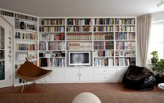 Fireplace without chimney - building ideas, so we want to buildbuild Bookshelves, Bookcase, Built In Furniture, Media Wall, Home Libraries, Decoration, Sweet Home, Living Room, Interior Design