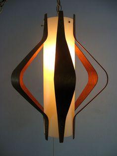 Vintage 1950's Danish Mid Century Modern Hanging Lamp Sconce Eames Scandinavian - pretty cool shape