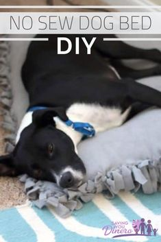 How to Make a DIY No Sew Bed that is so easy! You can make it any size so it's great for a larger dog. It would be a great Christmas gift for a pet lover. It's like a giant comfy pillow for your pet. It's cheap and a simple DIY pet project! Giant Dog Beds, Diy Dog Bed, Dog Pillow Bed, Pet Beds, Comfy Dog Bed, Cheap Dog Beds, Cool Diy Projects, Sewing Projects, Diy Pillows