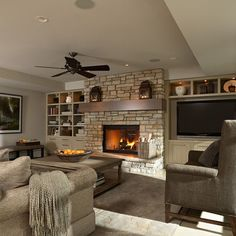 Media Room facing pool - traditional - Family Room - Minneapolis - Murphy & Co. Home Fireplace, Fireplace Remodel, Fireplace Design, Fireplaces, Mounted Fireplace, Fireplace Ideas, Media Room Decor, Media Room Design, Media Rooms