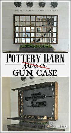 DIY Pottery Barn Mirror Hidden Gun Case www.Sawdust2stitches.com