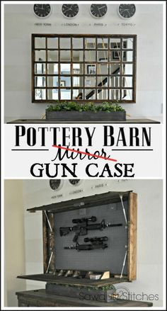 DIY Pottery Barn Mirror Hidden Gun Case www.Sawdust2stitches.com