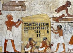 """[EGYPT 29358] 'Decorating a shrine in Rekhmire's tomb at Luxor.' A decoration pattern that can be found, for instance, on the outer shrine of Tutankhamun. Rekhmire was an 18th dynasty vizier (viceroy) of Southern Egypt, mayor of Thebes and steward of the Amon Temple at Karnak during the reigns of Thutmosis III and Amenhotep II. His tomb (TT 100) is located in the Sheikh Abd el Qurnah Necropolis on the Westbank at Luxor and is one of the socalled """"Tombs of the Nobles""""."""