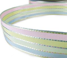 "1 Yd Easter Pastel Baby Pastel Woven Stripes Wired Ribbon 1 1/2""W"