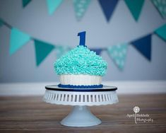 Blue Boy 1st Birthday Giant Cupcake Smash Cake by Nicky B's Cakes. Photo by April Birkholz Photography