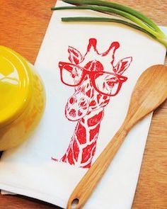 Red giraffe tea towel