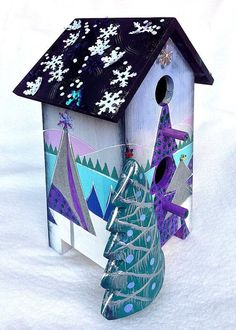 winter decorated birdhouses | ... BIRDHOUSE, An Original, One-Of-A-Kind Hand Painted Winter Decorative
