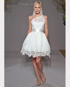 Short wedding dress.