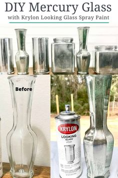 Mercury Glass DIY with Krylon Looking Glass Spray paint for beautiful mercury glass decor. See this easy tutorial WITH VIDEO on how to create your own DIY mercury glass to transform ANY surface. Best Paint For Glass, Looking Glass Spray Paint, Krylon Looking Glass, Painted Glass Bottles, Glass Bottle Crafts, Diy Bottle, Diy Painted Vases, Spray Painting Glass, Spray Paint Vases