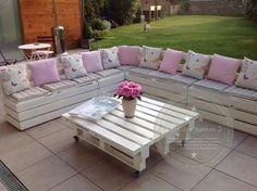 Salon de jardin réalisé avec des palettes : Meubles et rangements par lateliernumero5