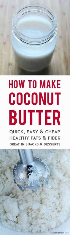 Learn how to make coconut butter at home in about 10-15 minutes with a bag of dried coconut flakes and an immersion blender + regular blender. This recipe is so cheap & easy! Use coconut butter (also called coconut manna) in place of peanut or almond butter in your favorite snacks (like fat bombs) and desserts for extra fiber and healthy fats. | real food recipes | low carb | frugal recipes | #coconutbutter #paleorecipes #healthyeating #frugalliving