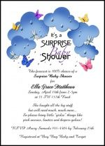 surprise party invitations with butterflies in the clouds for baby shower surprise party invitations baby
