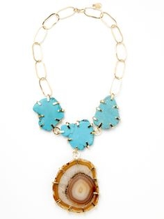 Rebecca Norman Turquoise & Agate Drop Necklace.