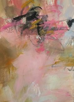 Pink Abstract acrylic on paper 15x11 Deboralstewart