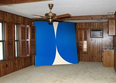 """greatartinuglyrooms:  Ellsworth Kelly!  """"Great Art in Ugly Rooms"""" shows artistic masterpieces digitally moved from museums and galleries and placed in """"ugly rooms."""""""