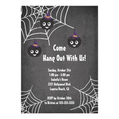 CLICK ON THE LARGER IMAGE TO SEE PRICING AND PURCHASING INFORMATION ... Chalkboard Spiders Halloween Party Invitation
