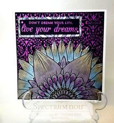 Square card made using Spectrum Noir Colorista Darks –  pencil pad - Exquisite florals - coloured with Spectrum Noir Metallic pencils: Gold, Mica, Rose Gold, Blue, Violet, Silver, Pink Also using Crafter's Companion Foil Transfers - Lavish Lace with Crafter's Companion Foil - Purple. Designed by Sarah Kay. #crafterscompanion #spectrumnoir #spectrumnoircolorista