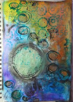 """My """"bursting Circle"""" inspired by PeonyandParakeet. Art Journal love by Christy Butters"""