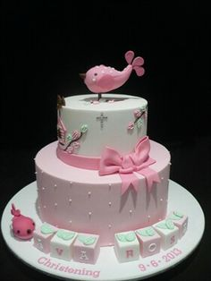 Love the bird idea for baptism cake