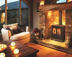 Brick Fireplace Log Burner, Inglenook Fireplace, Fireplace Hearth, Home Fireplace, Living Room With Fireplace, Fireplace Design, Living Room With Stove, Wood Stove Hearth, Fireplace Ideas
