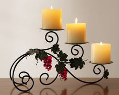 Metal Scroll Design Candle Holder With Grape Accents