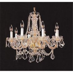 Upscale Chandelier 48201-12HB Crystal Chandelier with French Pendelogue Crystal Trim - Gold, As Shown