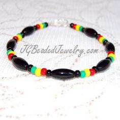 rastafarian+handmade+jewelry   Rasta Bracelet Black Onyx Gemstone UNISEX by JGBeadedJewelry