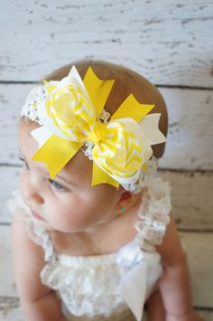yellow Hair bow  Chevron  Little miss sunshine  by PoshPeanutKids, $9.99