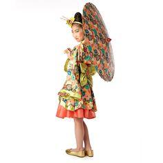 Jade Kimono Child Costume - Buycostumes.com;  closeup photo shows makeup and headpiece