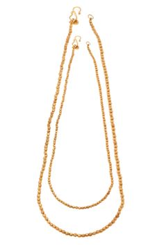 Etna Double Long Necklace - Super versatile these long strand faceted necklaces can be worn simply on their own or layered together to create a statement look. Mix and Match all the clasps fit into each other with a seamless look. They come in the lenghts 16, 18 and 30 inches.   These beautiful Etna Collection Necklaces are made to be layered together, If you are buying them together we offer a small discount. 22 kt Yellow Gold Plating Gold Plating, Gold Necklace, Collections, Necklaces, Yellow, Create, Fit, Stuff To Buy, Beautiful