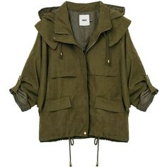 Casual Loose Drawstring Long Sleeve Hood Zipper Women Jacket ($28) ❤ liked on Polyvore featuring outerwear, jackets, pattern jacket, hooded zip jacket, hooded jacket, drawstring jacket and zipper jacket
