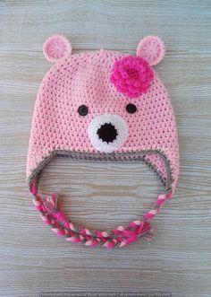 Cappello per bambina a forma di orsetto rosa, in lana baby ideale per l'inverno. di LaLunadiLanaHandmade su Etsy