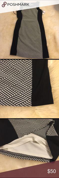 Women's White Colorblock Print Ponte Knit Dress New with tags.Women's White Colorblock Print Ponte Knit Dress. Calvin Klein Dresses Midi