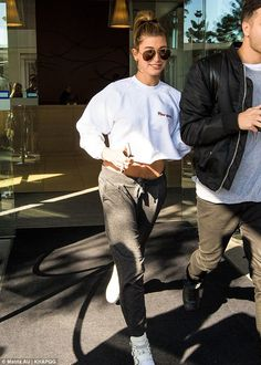 Fashionable: Justin Bieber's very close friend Hailey Baldwin managed to look stylish step...