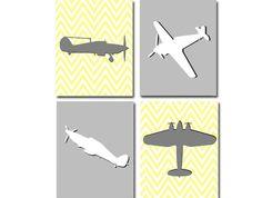 Boys Airplane Nursery Yellow and Gray Chevron  . $40.00, via Etsy.