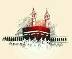Holy Kaaba in Mecca Saudi Arabia, Hand Drawn Sketch Vector illustration. Arabic Calligraphy Art, Arabic Art, Calligraphy Alphabet, Islamic Images, Islamic Pictures, Motif Oriental, Moslem, Islamic Cartoon, Islamic Posters