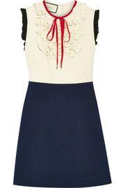 Gucci - Ruffle-trimmed silk and wool-blend mini dress
