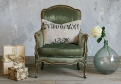 Love the mix of velvet and distressed finish. Vintage Louis XV chair / french bergere by bohemiennes on Etsy