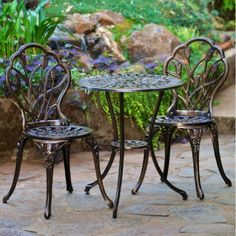 Indoor Outdoor Bistro Set Patio Deck Pool Garden Kitchen Sunroom Aged Bronze #NH