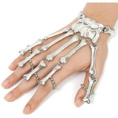 Punk Skeleton Skull Finger Ring Bracelet ❤ liked on Polyvore featuring jewelry, bracelets, rings, skull jewelry, skull jewellery, punk rock jewelry, skeleton jewelry and skull bangle
