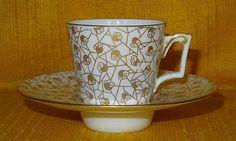 Antique 19thC William BROWNFIELD Chintz Pattern TREMBLEUSE CUP & SAUCER, 1884