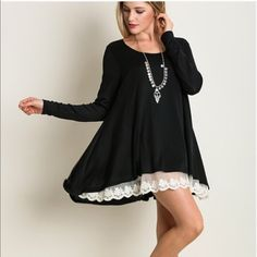 Nothing Twice Lace Hem Top S Tops Tunics