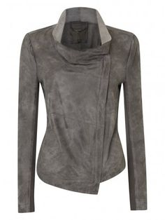 The Muubaa Geneva Suede Jacket has a two-tone effect plus draped, raw-cut cowl neck jacket. Currently half off. Click here.