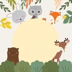 Set of cute illustration of woodland animals. Forest Animals, Woodland Animals, Dibujos Baby Shower, Baby Animals, Cute Animals, Woodland Party, Woodland Creatures, Baby Kind, Animal Party