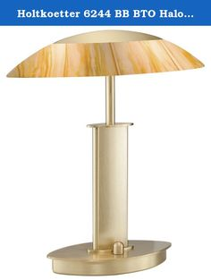 Holtkoetter 6244 BB BTO Halogen Table Lamp, Brushed Brass with Brilliant Topaz Glass. A miniature version of our 6243 table lamp, the 6244 table lamp is equipped with two 40W Halopin bulbs by Osram and a full-range, turn-knob dimmer. Holtkoetter International, Inc. manufactures lamps and light fixtures of the highest quality and is one of a handful of companies left that still design their own fixtures and do their own manufacturing from the raw metal to the finished product, resulting in...