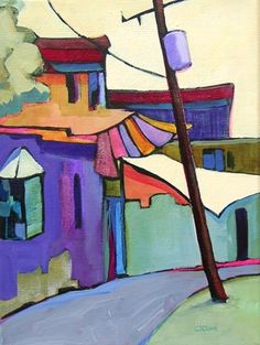 Daily Painting The Bend contemporary abstract cityscape, painting by artist Carolee Clark