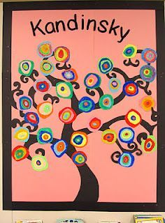 OK, so I make the tree at AES, and the students make the Kandinsky circles.Based on Kandinsky Circles. Might be a fun classroom project. Teacher cuts out (or paints! Students create the circles for the branches. Collaborative Art Projects, School Art Projects, Art School, Art Kandinsky, Classe D'art, Ecole Art, Art Lessons Elementary, Elementary Schools, Kindergarten Art Lessons